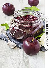 plum jam in jar
