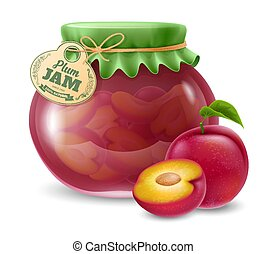 Natural organic homemade plum jam in the glass jar with paper label and decorated with textile cover. Vector illustration.