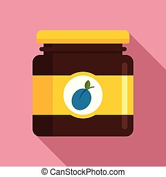 Plum jam jar icon, flat style