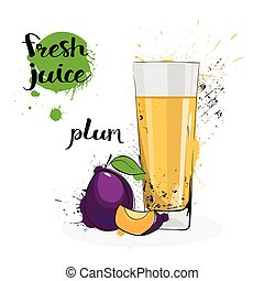 Plum Juice Fresh Hand Drawn Watercolor Fruit And Glass On White Background