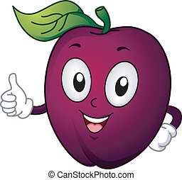 Plum Mascot - Mascot Illustration Featuring a Plum Giving a...