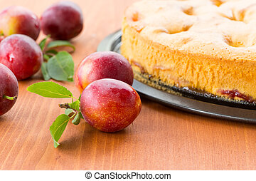 Home sweet cake with plums on a plate