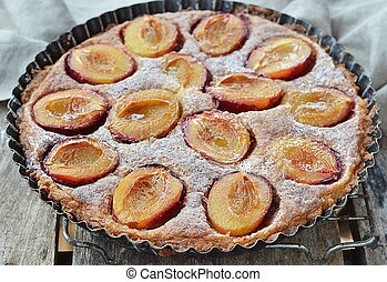 plum pie with ripe apricot fruits