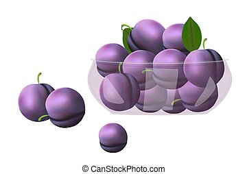 Plum. Plums in glass bowl isolated on white background. - ...