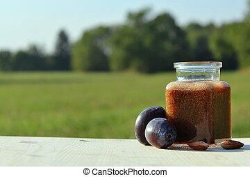 plum smoothie in nature