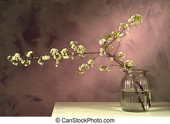 Japanes style still life of plum flowers aragment