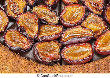 Plum tart. Plum cake with roasted cinnamon plums. Close up,...
