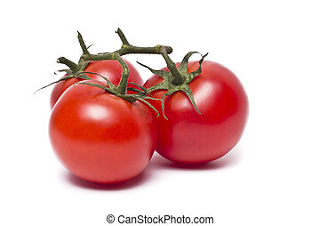 Plum tomatoes with leaves on white background