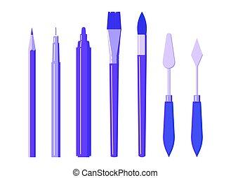 pluma, arte, -, transatlántico, herramientas, lápiz, conjunto, marcador, cepillo