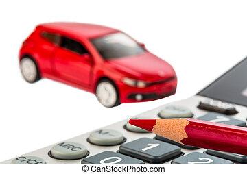 pluma, automóvil, calculadora, rojo