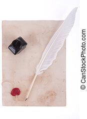 pluma blanca, pluma, sello de lacrar, y, tinta, botella