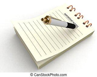 pluma, bloc, escritura