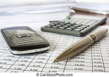 pluma, calculadora, contabilidad, célula, cuentas, teléfono