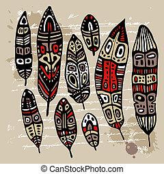 pluma, conjunto, étnico