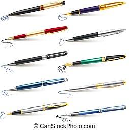 pluma, conjunto, fuente, empresa / negocio, icono