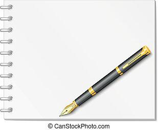 pluma, cuaderno, espiral, tinta