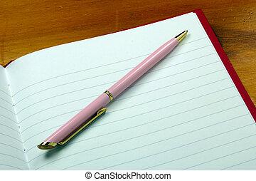 pluma, cuaderno