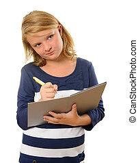pluma, cuaderno, joven, estudiante