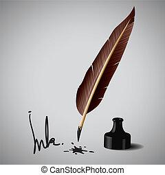 pluma de pluma, tinta