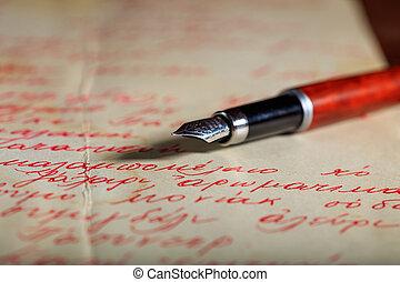 pluma de tinta, en, un, carta manuscrita