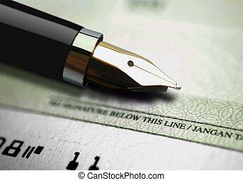pluma de tinta, en, un, cheque