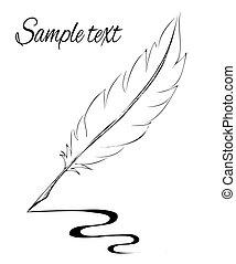 pluma, elaboración, pluma, bosquejo, línea