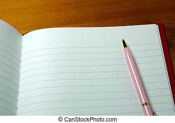 pluma, en, un, cuaderno