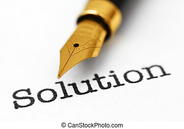 pluma, fuente, solución