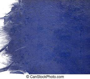 pluma, grunge, azul, nublado, borde, aislado, pintura