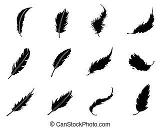 pluma, iconos, conjunto