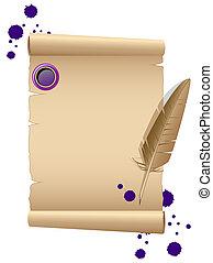 pluma, papel, viejo
