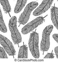 pluma, seamless, blanco y negro, fondo.