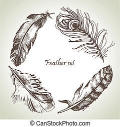 pluma, set., mano, dibujado, ilustraciones
