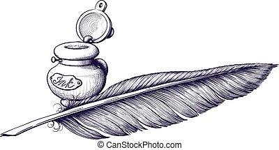 pluma, tintero, púa
