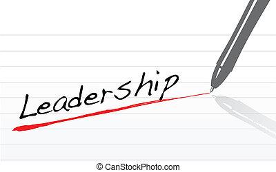 pluma, underlined, liderazgo