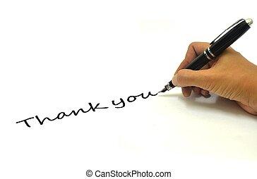 pluma, usted, agradecer, letra de mano