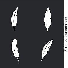 pluma, vector, conjunto, iconos