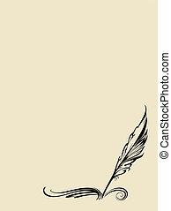 pluma, vector, fondo blanco