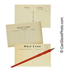 pluma, viejo, postales, escritura