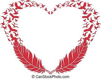 pluma, vuelo, aves, corazón, rojo