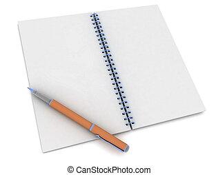 pluma y, cuaderno, blanco
