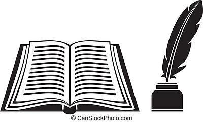pluma, y, libro