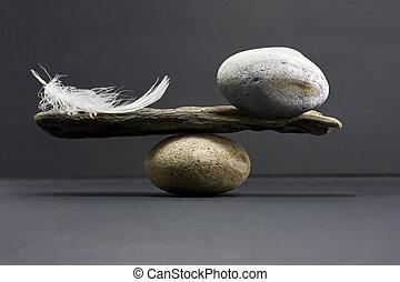 pluma, y, piedra, balance