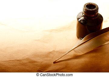 pluma, y, tinta, botella, aislado, en, papel, plano de fondo