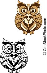 plumage, coruja, arredondado, pássaro, marrom