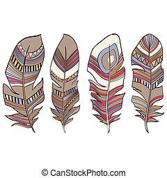 plumage, indianas, penas, étnico