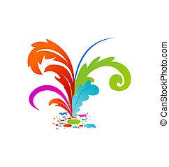 plumas, colouful, grupo, artístico, tinta