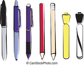 plumas, lápices, y, marcadores