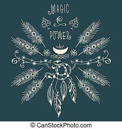 plumas, luna, boho, hipster, étnico, etiqueta