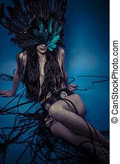plumas, mujer desnuda, vestido, fantasía